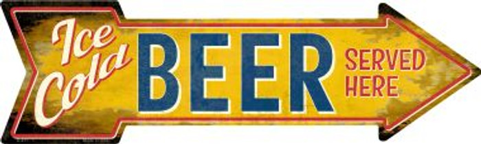 Ice Cold Beer Served Here Novelty Metal Arrow Sign A-411