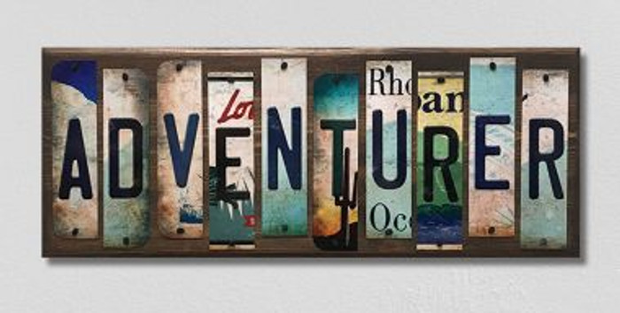 Adventurer License Plate Strips Novelty Wood Sign WS-099