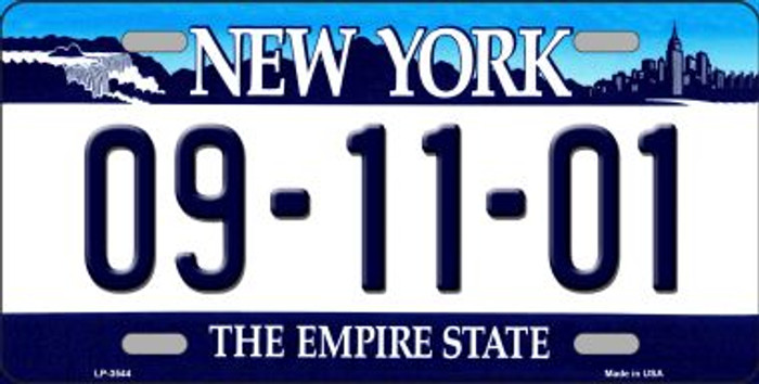 9 11 01 New York Novelty Metal Novelty License Plate