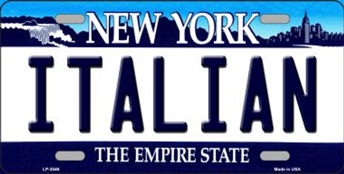 Italian New York Novelty Metal License Plate