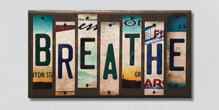 Breathe License Plate Strips Novelty Wood Sign WS-105
