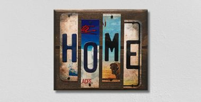 Home License Plate Strips Novelty Wood Sign WS-108