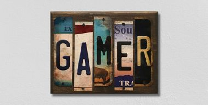Gamer License Plate Strips Novelty Wood Sign WS-116