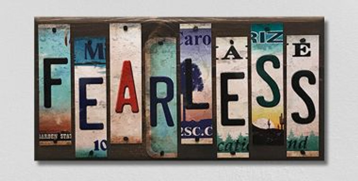 Fearless License Plate Strips Novelty Wood Sign WS-118