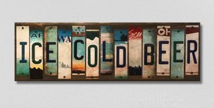 Ice Cold Beer License Plate Strips Novelty Wood Sign WS-128