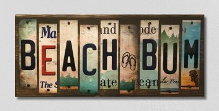 Beach Bum License Plate Strips Novelty Wood Sign WS-131
