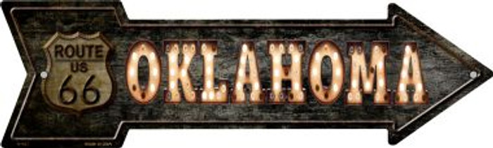 Oklahoma Route 66 Bulb Letters Novelty Metal Arrow Sign A-427