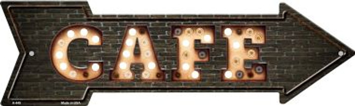 Cafe Bulb Letters Novelty Arrow Sign A-449