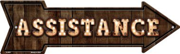 Assistance Bulb Letters Novelty Arrow Sign A-454