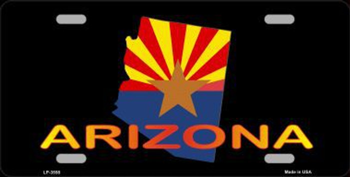 Arizona Flag Filled State Outline Metal Novelty License Plate