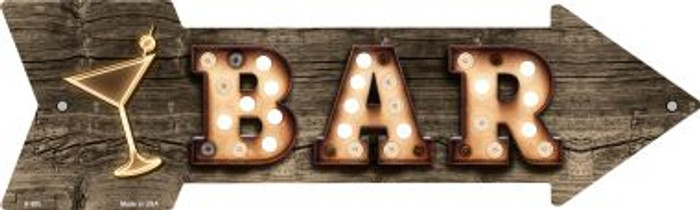 Bar With Cocktail Bulb Letters Novelty Arrow Sign A-500