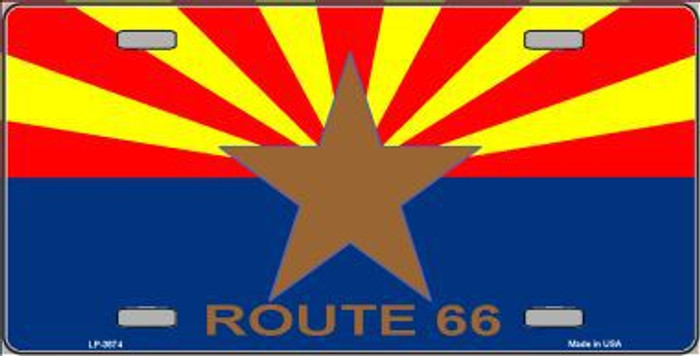 Route 66 Arizona Flag Metal License Plate