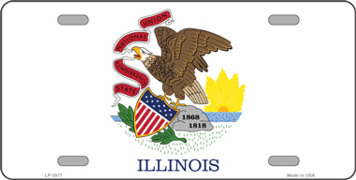 Illinois State Flag Metal Novelty License Plate Tag LP-3577