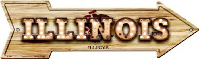 Illinois Bulb Lettering With State Flag Novelty Arrows A-593