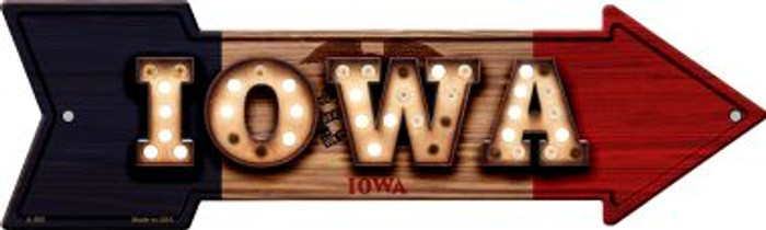 Iowa Bulb Lettering With State Flag Novelty Arrows A-595