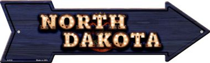 North Dakota Bulb Lettering With State Flag Novelty Arrows A-614
