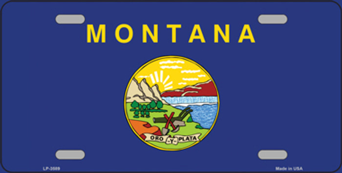 Montana State Flag Metal Novelty License Plate Tag LP-3589