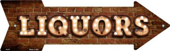 Liquors Bulb Letters Novelty Arrow Sign A-517