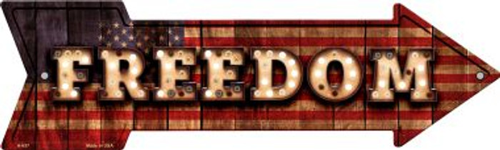Freedom Bulb Letters American Flag Novelty Arrow Sign A-637