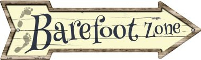 Barefoot Zone Novelty Arrow Sign A-645