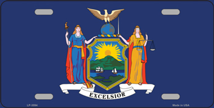 New York State Flag Metal Novelty License Plate Tag LP-3594