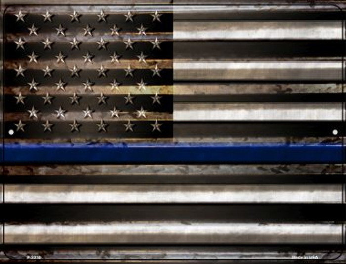 American Flag Thin Blue Line Novelty Parking Sign P-2310