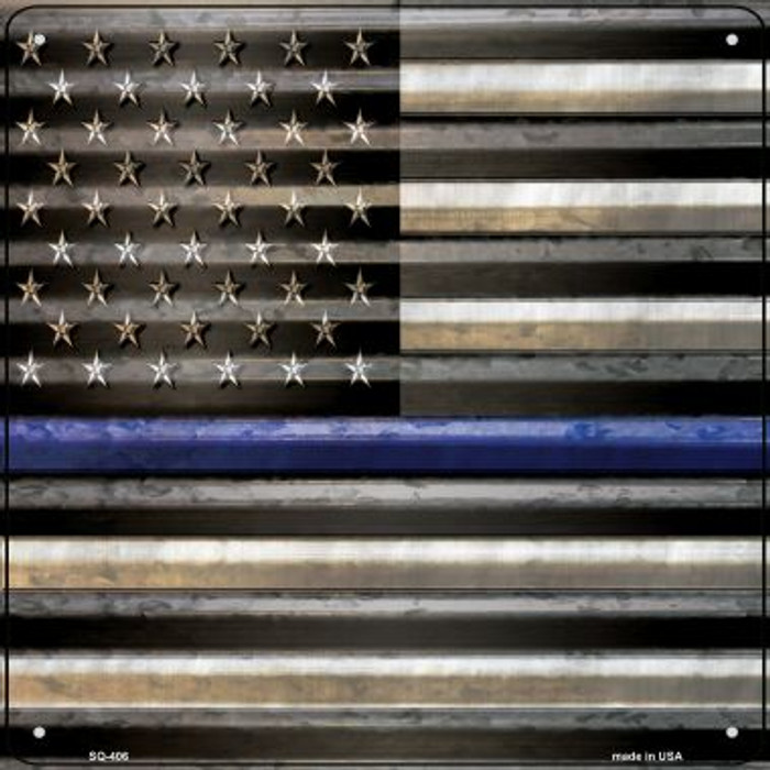 American Flag Thin Blue Line Novelty Square Sign SQ-406