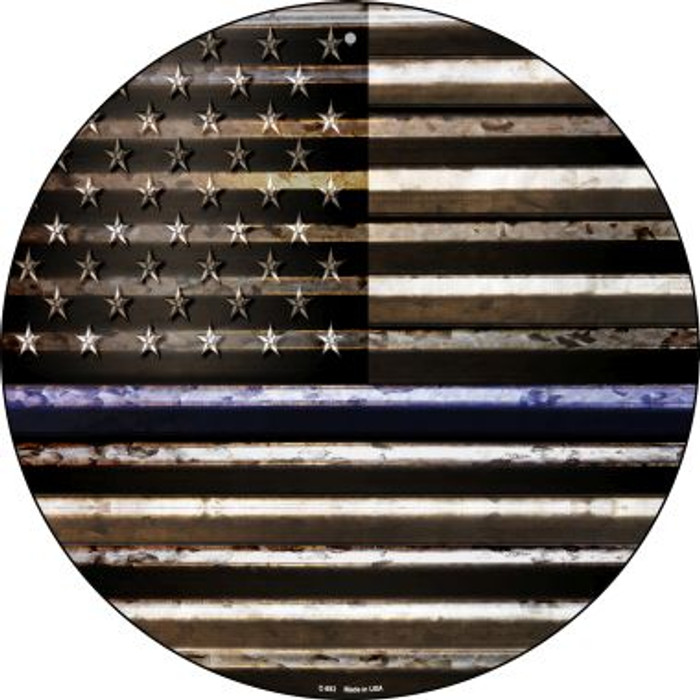 American Flag Thin Blue Line Novelty Circular Sign C-893