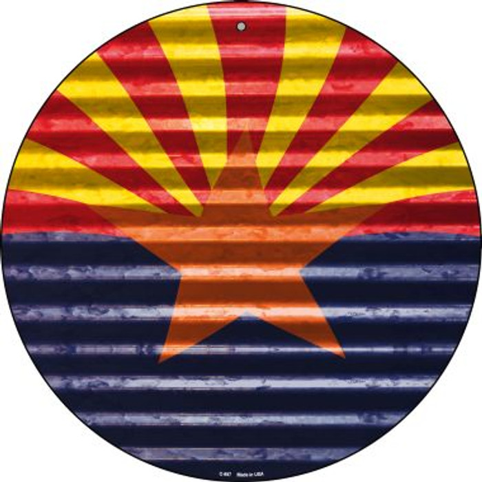 Arizona Flag Novelty Circular Sign C-897