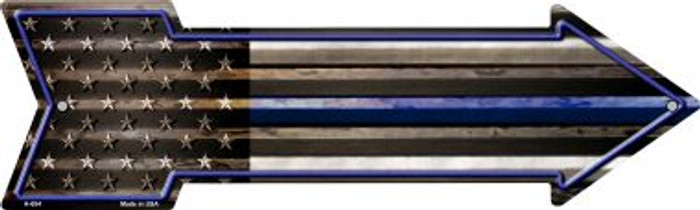 American Flag Thin Blue Line Novelty Arrow Sign A-654
