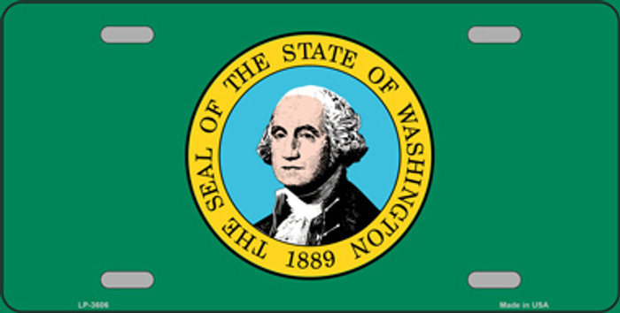 Washington State Flag Metal Novelty License Plate Tag LP-3606