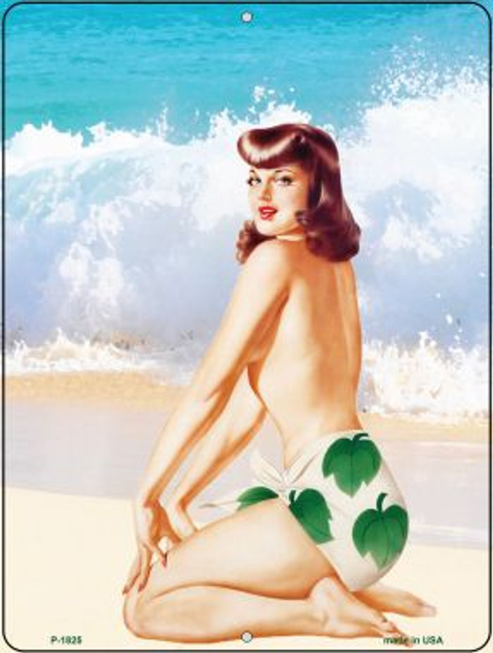 Girl On Beach Vintage Pinup Parking Sign P-1825