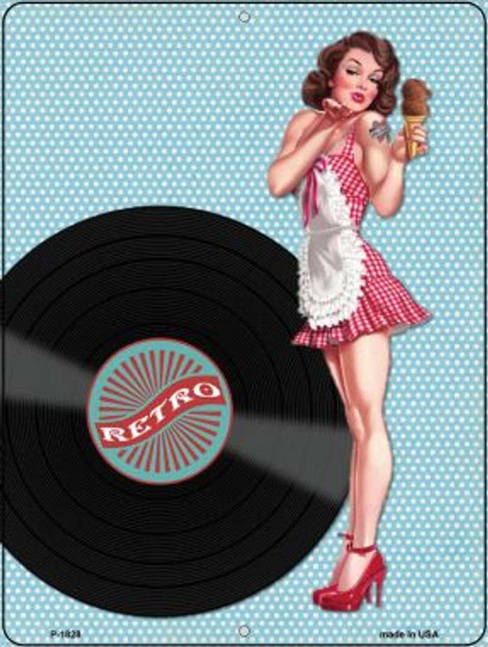 Girl With Vinyl Record Vintage Pinup Parking Sign P-1828