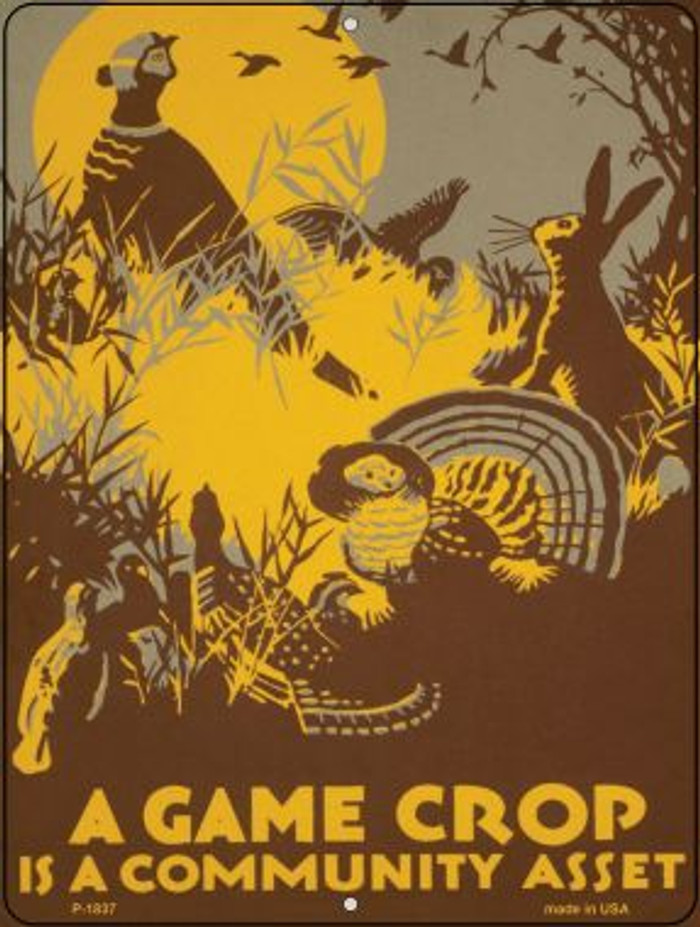 A Game Crop Vintage Poster Parking Sign P-1837