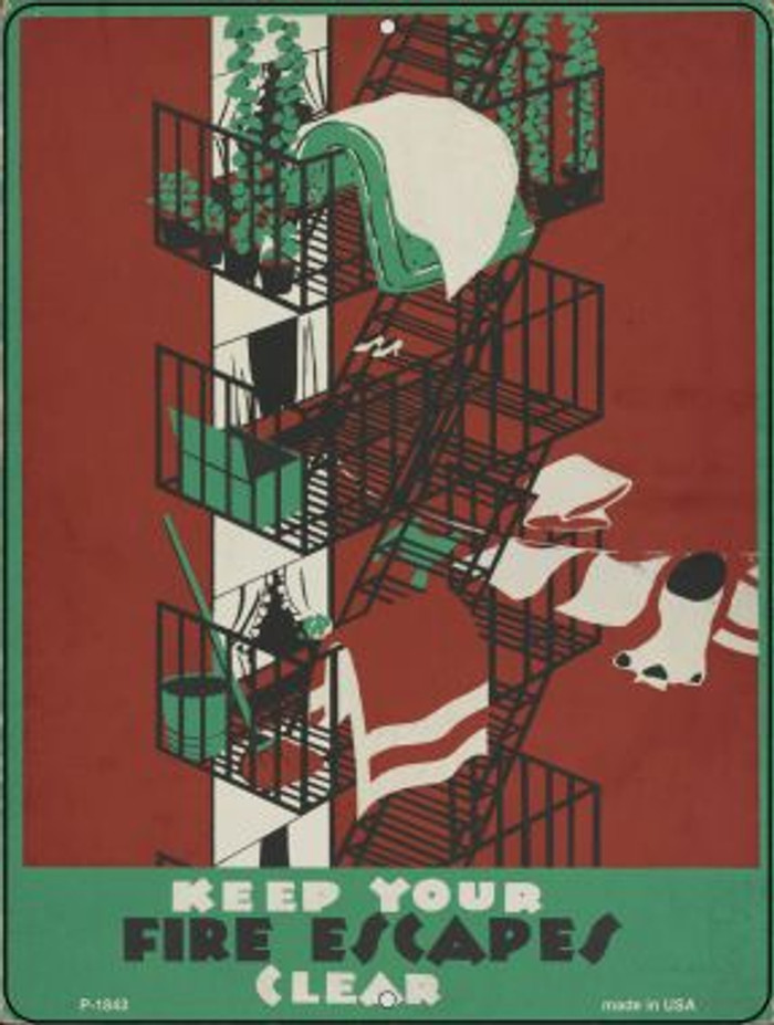Fire Escapes Clear Vintage Poster Parking Sign P-1843