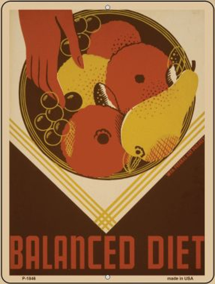 Balanced Diet Vintage Poster Parking Sign P-1846