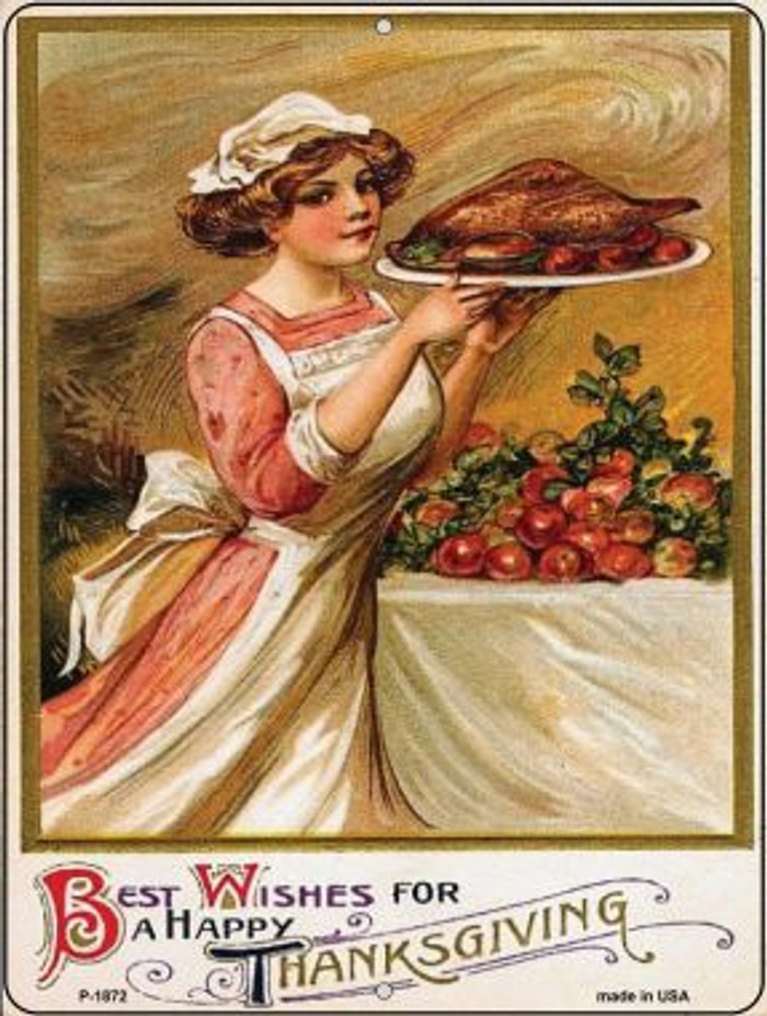 Best Wishes for Thanksgiving Vintage Poster Wholesale Parking Sign P-1872