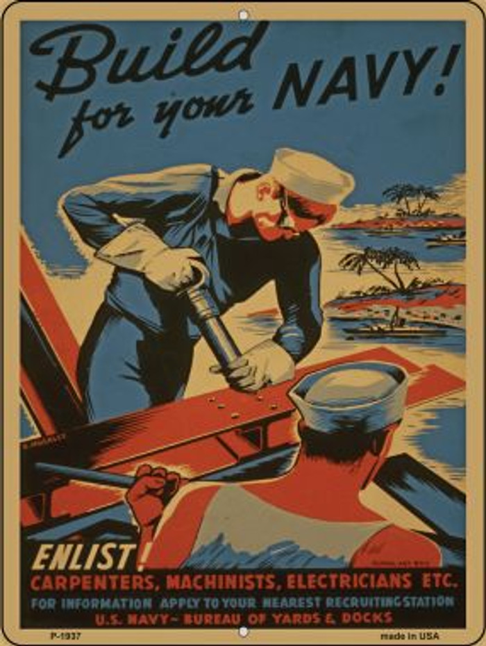 Build Your Navy Vintage Poster Parking Sign P-1937