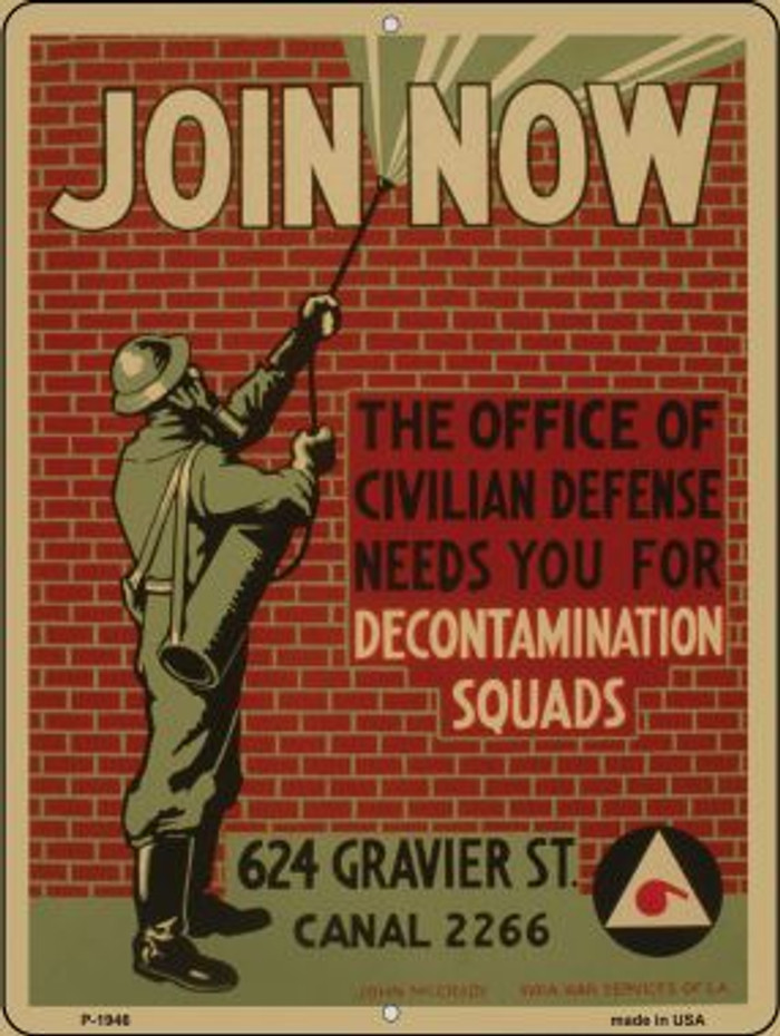 Decontamination Squads Vintage Poster Parking Sign P-1946