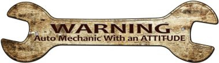 Auto Mechanic Novelty Metal Wrench Sign W-109