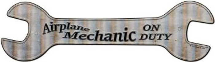 Airplane Mechanic On Duty Novelty Metal Wrench Sign W-115