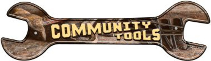 Community Tools Novelty Metal Wrench Sign W-138