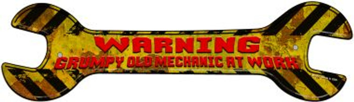 Old Mechanic At Work Novelty Metal Wrench Sign W-152