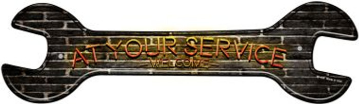 At Your Service Novelty Metal Wrench Sign W-154
