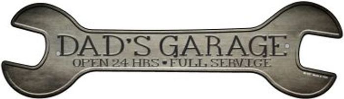 Dads Garage Novelty Metal Wrench Sign W-157