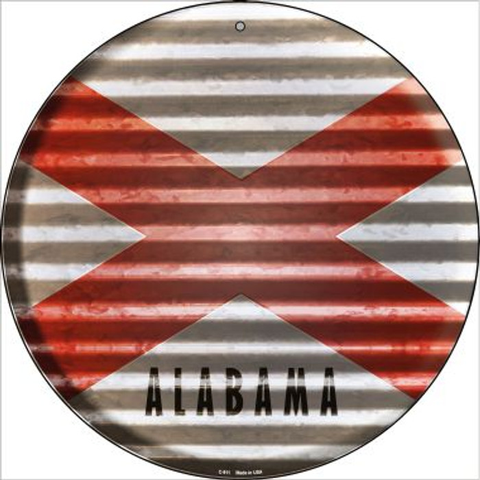 Alabama Flag Corrugated Effect Novelty Circular Sign C-911