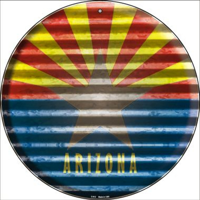 Arizona Flag Corrugated Effect Novelty Circular Sign C-913
