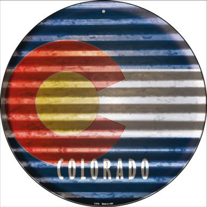 Colorado Flag Corrugated Effect Novelty Circular Sign C-916