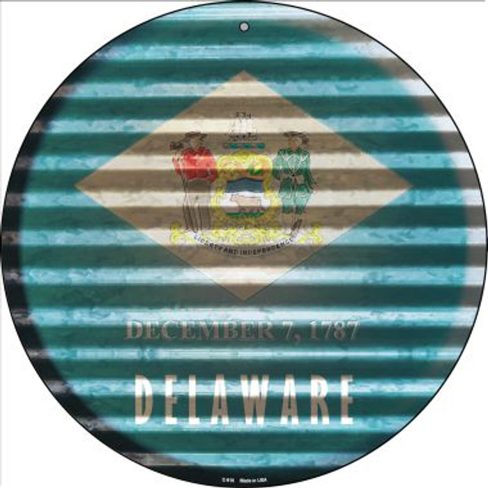 Delaware Flag Corrugated Effect Novelty Circular Sign C-918