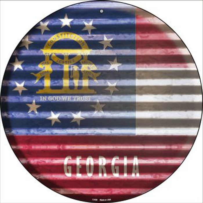 Georgia Flag Corrugated Effect Novelty Circular Sign C-920